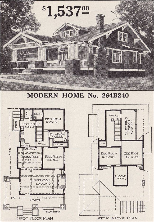 2 Story vintage Craftsman House Plans Craftsman Style House Plans