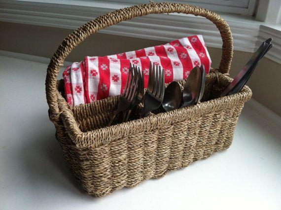 Wicker Picnic Silverware Basket Caddy | Picnics and Summer picnic