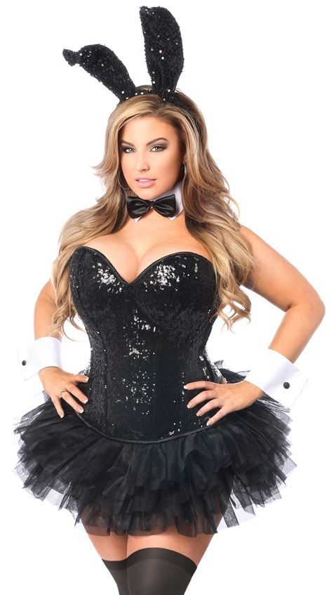 Plus size Black Sequins Corset Playboy Bunny Costume with TuTu
