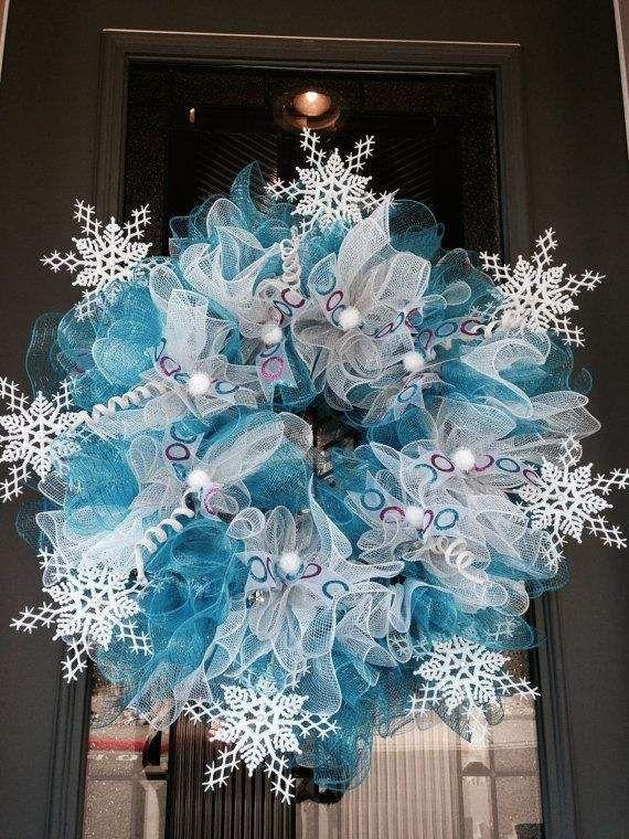 Deco mesh christmas wreaths blue white snowflakes christmas home deco mesh christmas wreaths blue white snowflakes christmas home decor ideas teraionfo