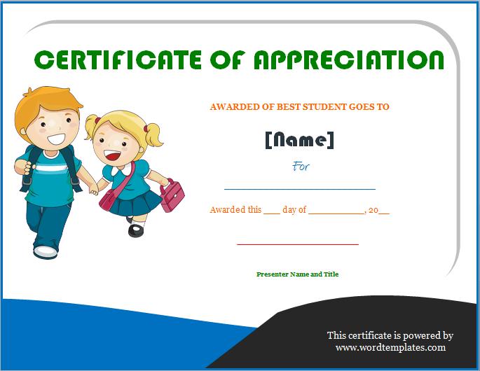 best students award certificate of appreciation education