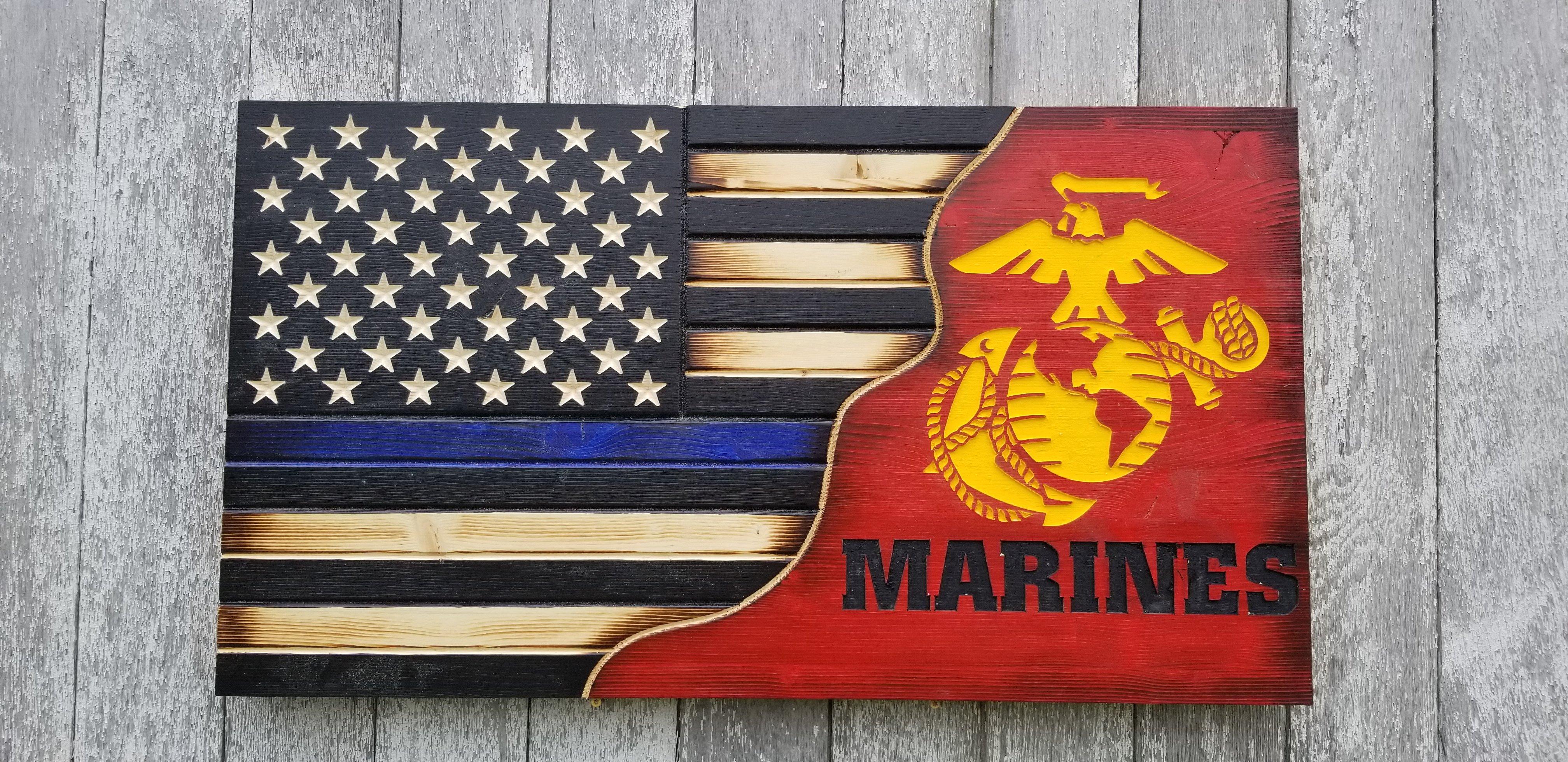 Thin Blue Line Police License Plate Tag Frame American Flag Design