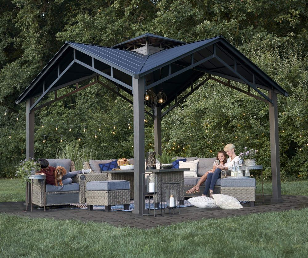 Broyhill Hard Top Pavilion 12 X 12 Big Lots In 2020 Backyard Pavilion Outdoor Pavilion Broyhill