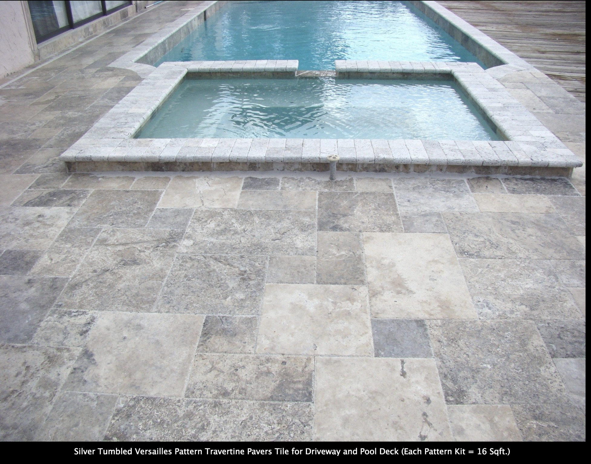 Silver Tumbled Versailles Pattern Travertine Pavers Tile For