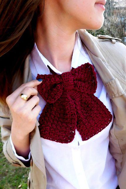 Crochet Bow Tie pattern by Alina Badiu | Moños, Tejido y Cuellos tejidos