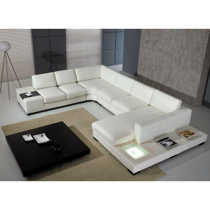 The Alana Leather Sectional Sofa With 2 End Tables Reveals A Pioneering Design Fea Modern Leather Sectional Sofas Modern Sofa Sectional Leather Couch Sectional
