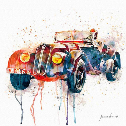 Watercolor Painting Of A Vintage Convertible Car With Driver