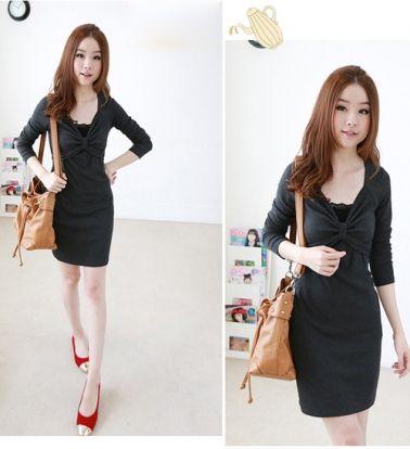 Korean Long Sleeve Slim Hip Dress With Belt Dark Gray  on BuyTrends.com, only price $14.50