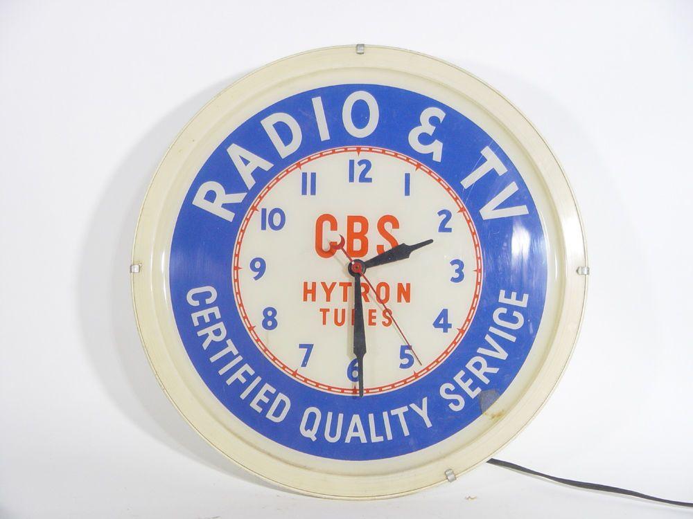 Vintage Cbs Hytron Tubes Lighted Clock