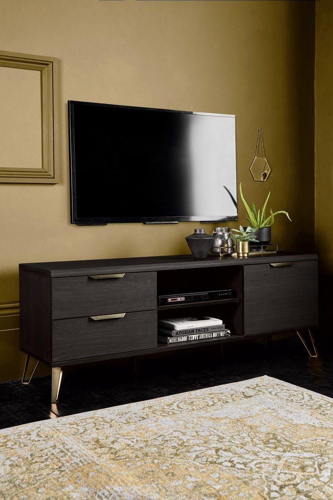 Next Venetia Wide Tv Unit Black Living Room Tv Stand Tv Stand