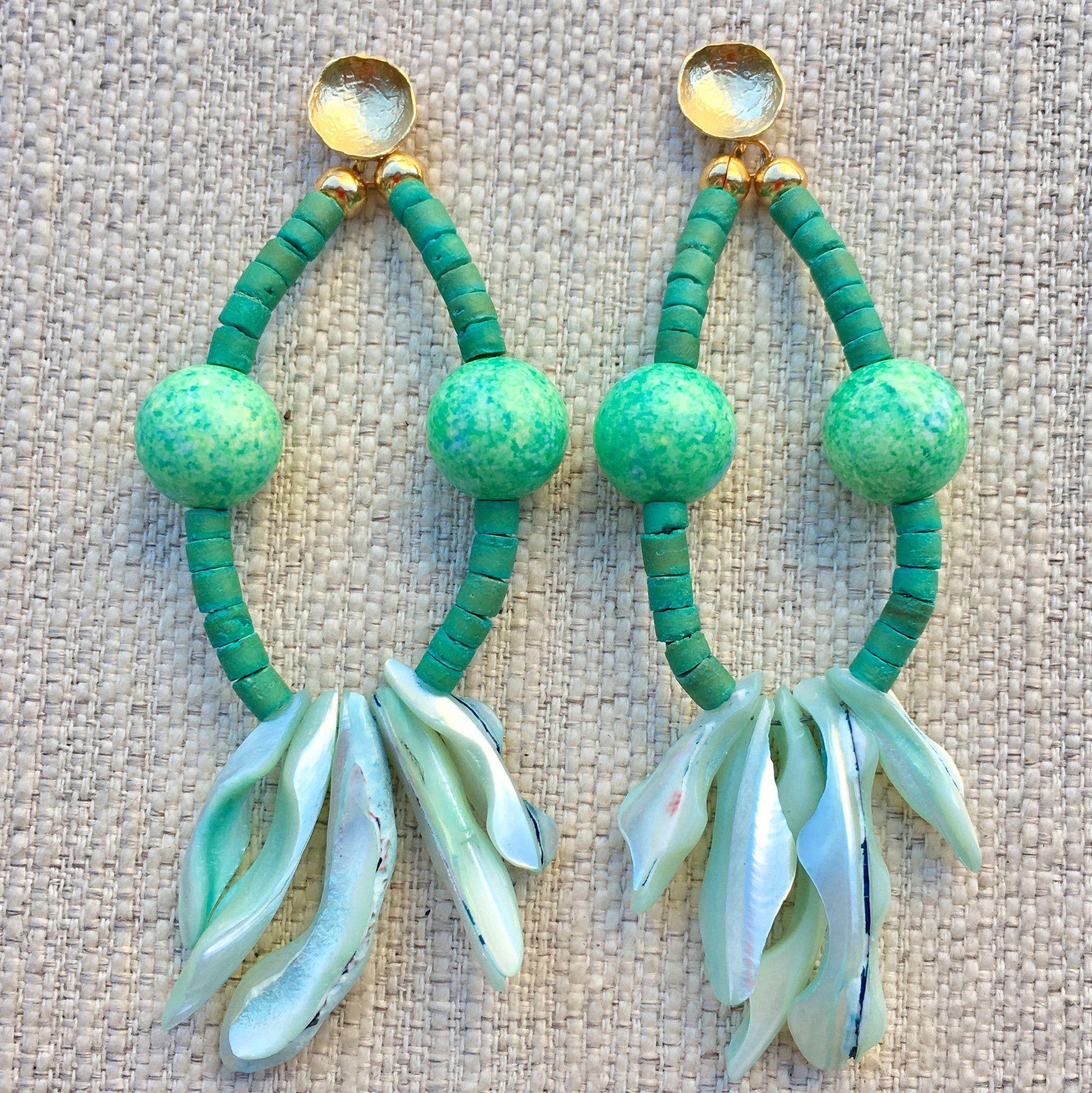 Vulcanite hoop earrings seafoam products