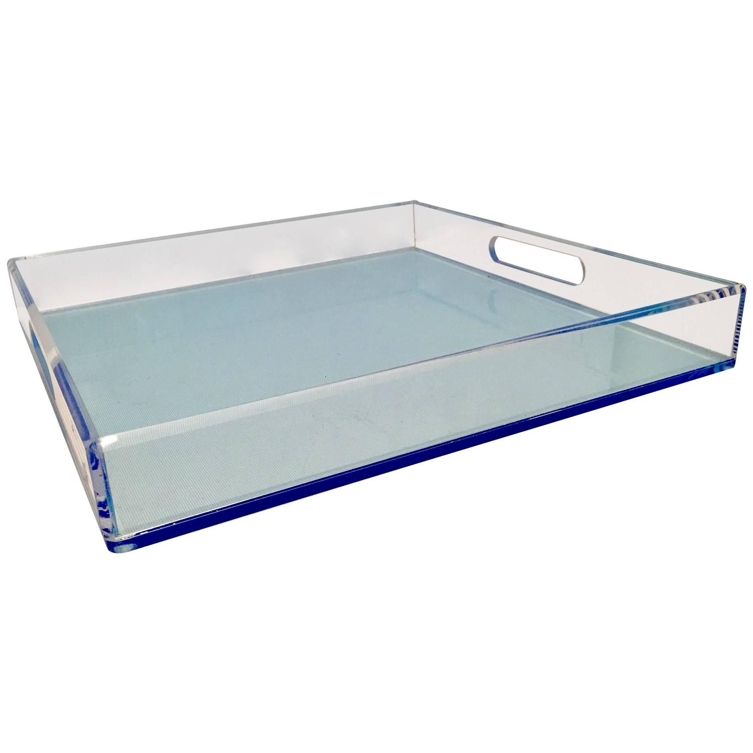21st Century Modern Custom Made Lucite Two-Tone Cut-Out Handle Tray ...