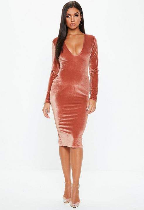 3c46470a655bf Missguided Pink Velvet Long Sleeve Plunge Midi Dress | Products ...