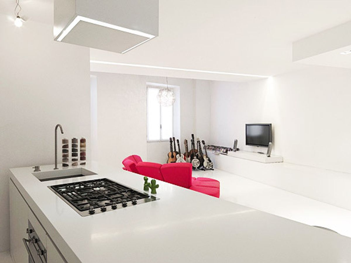 Wonderful White Minimalist House Kitchen Design Modern Interior Ideas :  Home Interiors