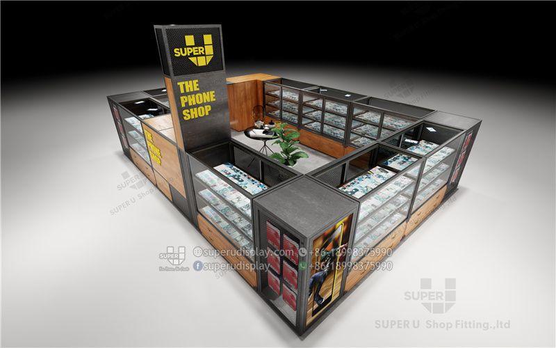 Exhibidor Clasico De Metal Y Madera Para Tienda De Telefonos