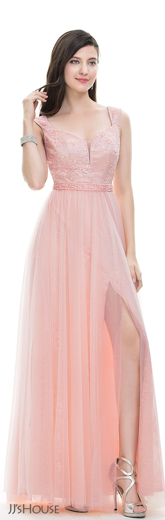 A-Line/Princess Sweetheart Floor-Length Tulle Prom Dresses With ...