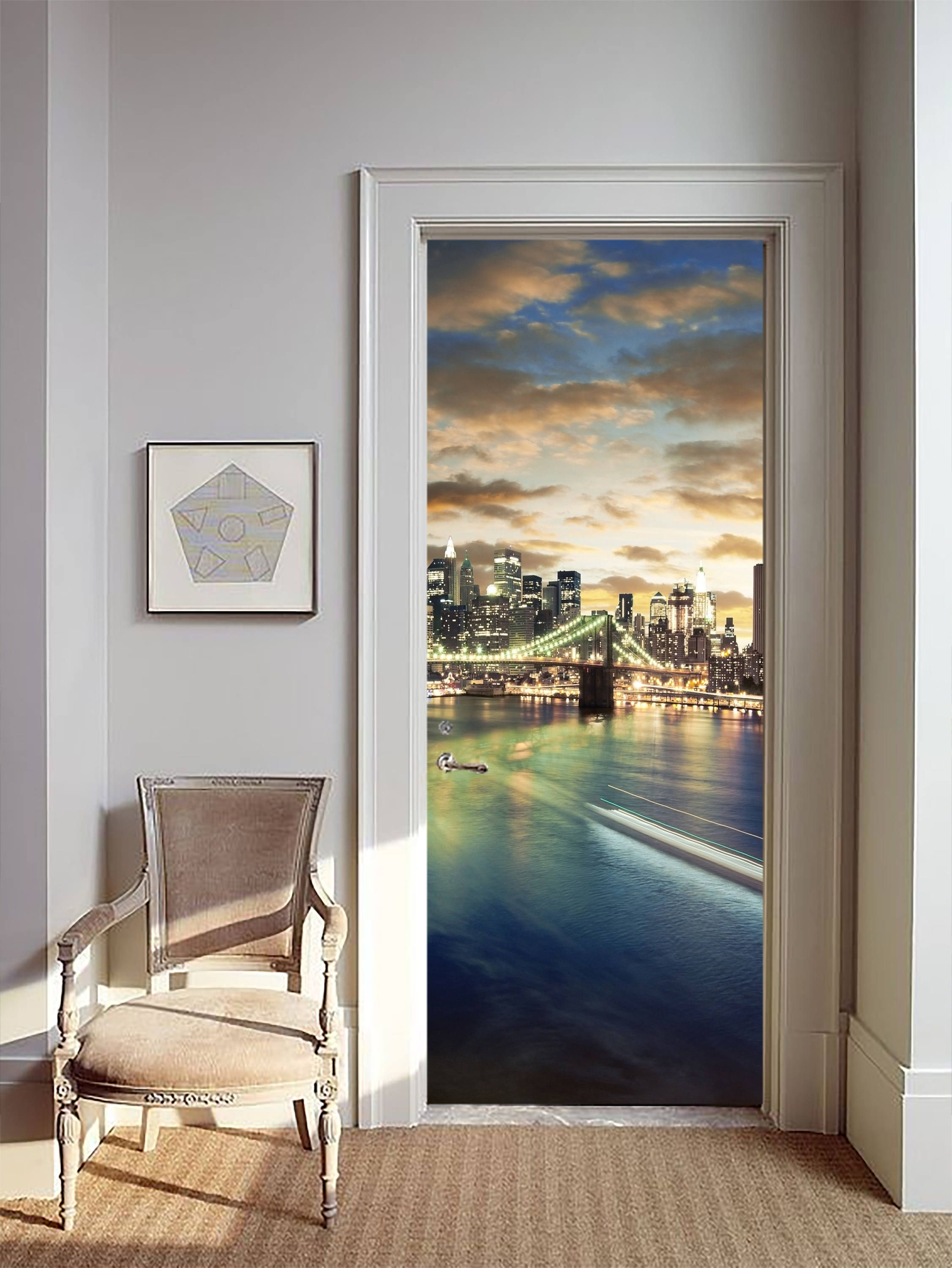 Removable Wallpaper Mural Peel & Stick Door Sticker New York
