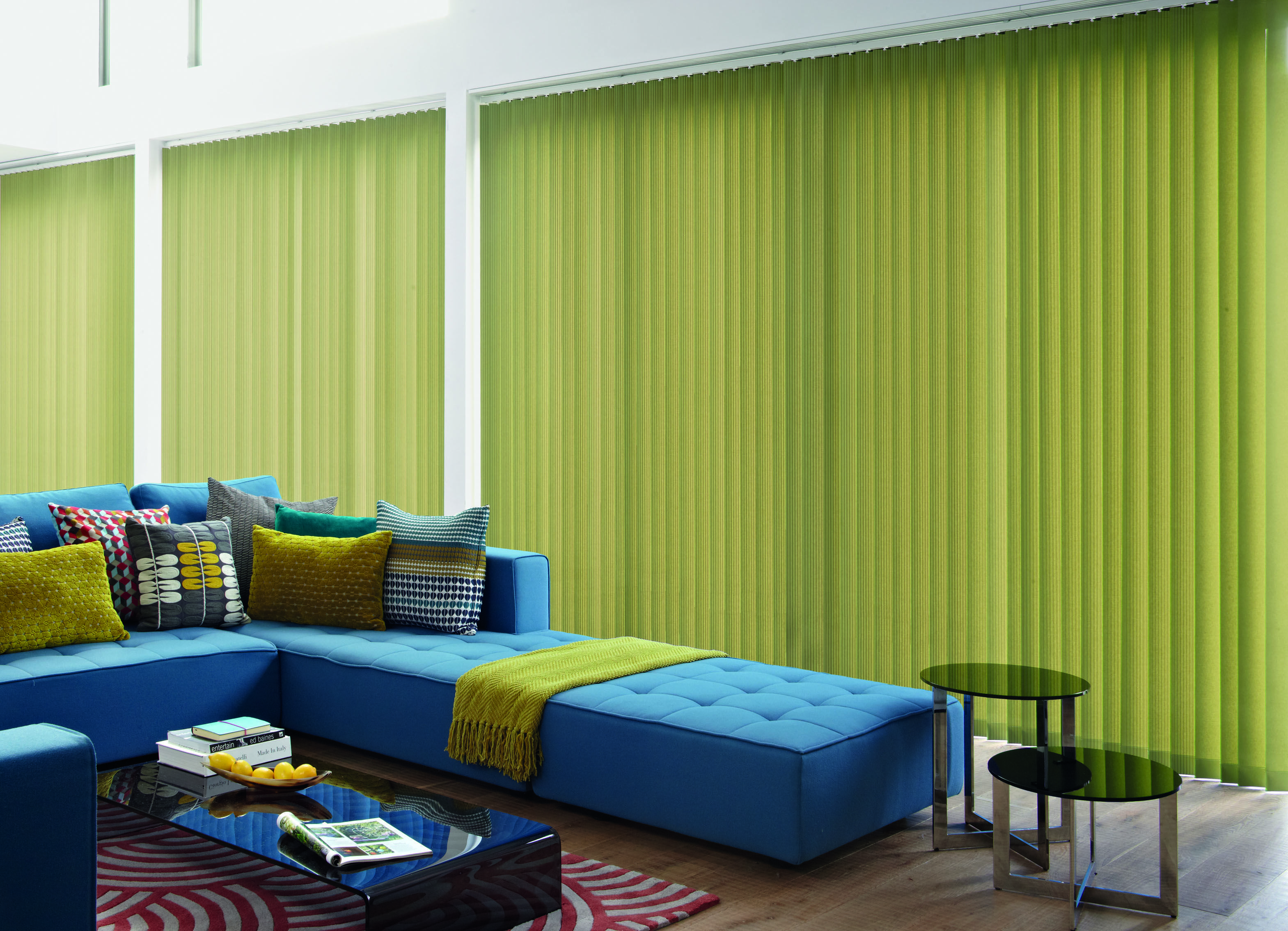 modern green restyling vertical blind for sliding glass doors ideas with blue sofa and black table - Vertical Blinds For Sliding Glass Doors