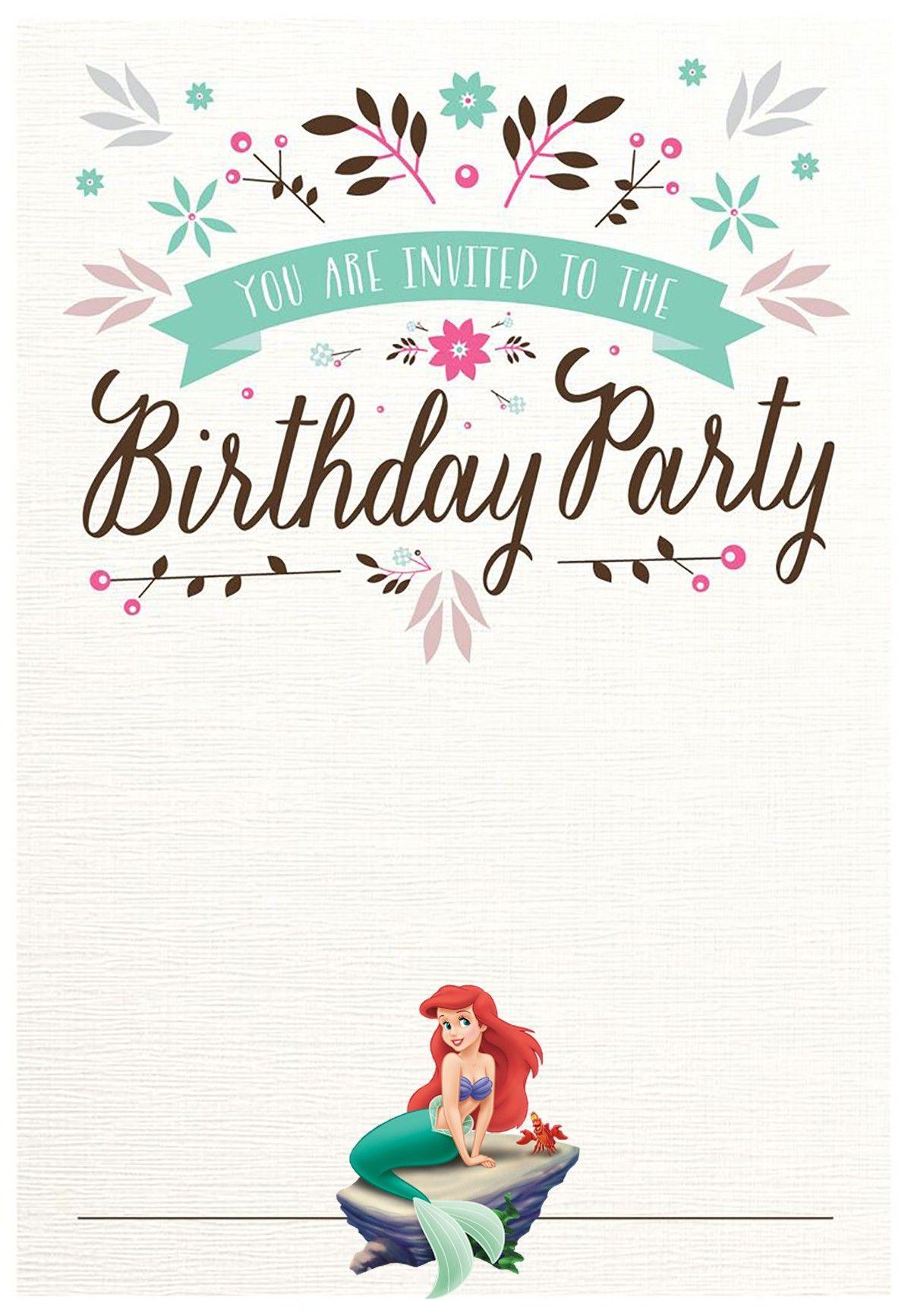 Little Mermaid Birthday Party Invitation Printable In 2019