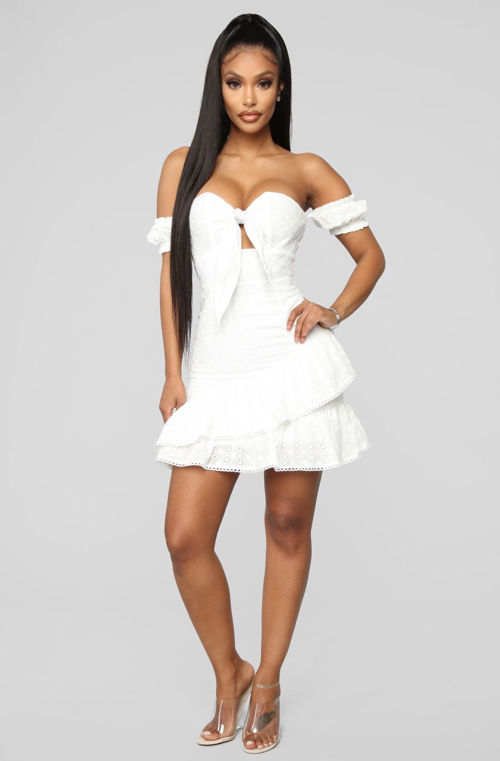 Hold The Phone Eyelet Mini Dress White White mini