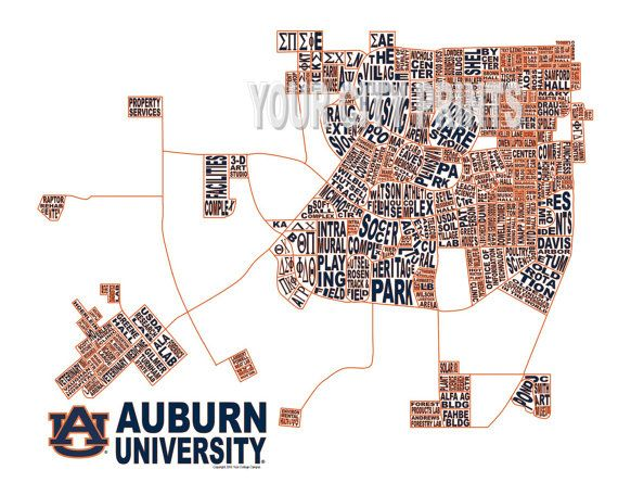 Auburn University Word Map Art By Whatsyour20 On Etsy 25 00 Au