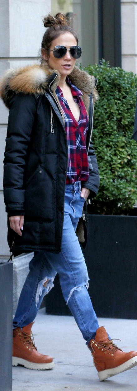 Jennifer Lopez Style - Plaid, jeans and what's become Jenn's favorite accessory; Buscemi Boots.