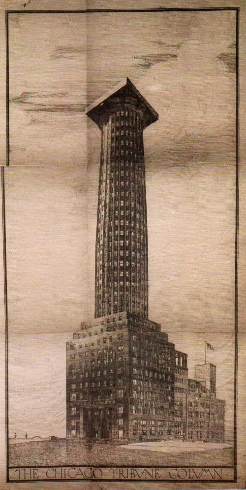 unbuilt Chicago Herald Tribune by Adolf Loos, 1922