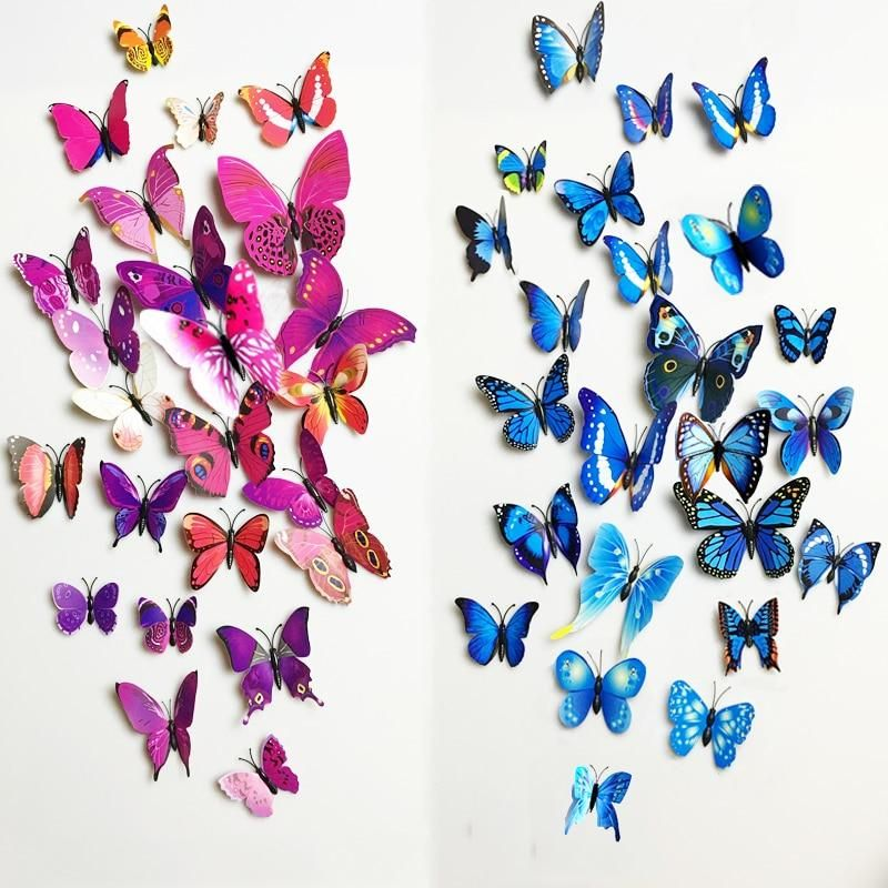12pcs Pvc 3d Butterfly Wall Decor Cute Butterflies Wall Stickers