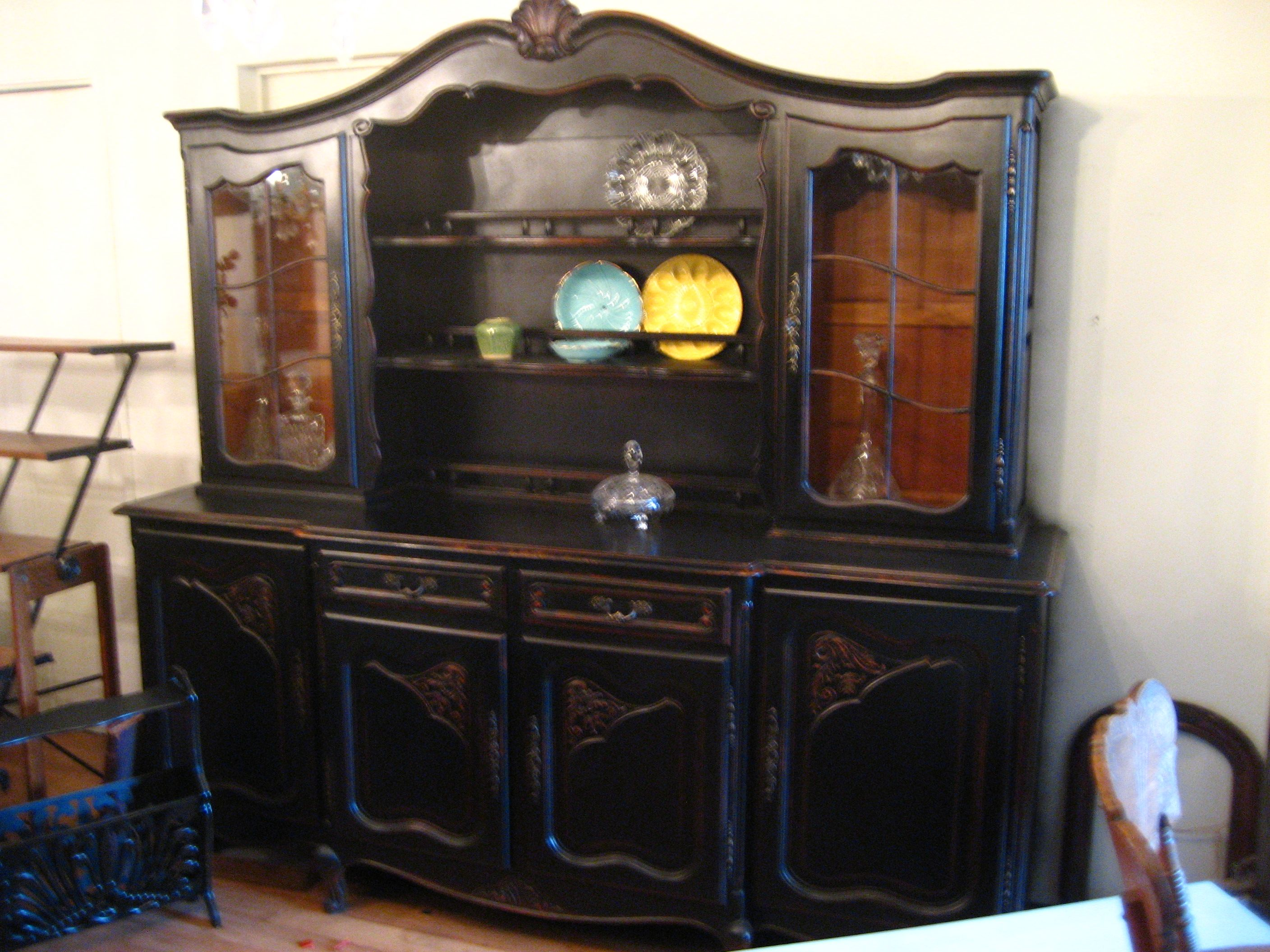 Black Distressed China Cabinet
