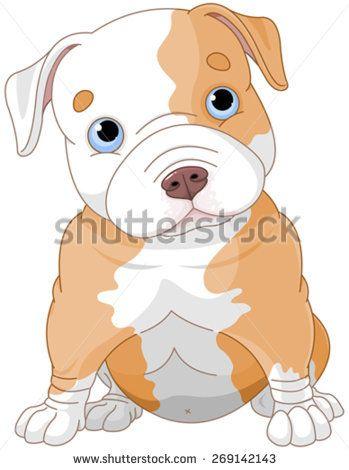Illustration Of Cute Pitbull Puppy Bulldog Cartoon Cute Pitbull