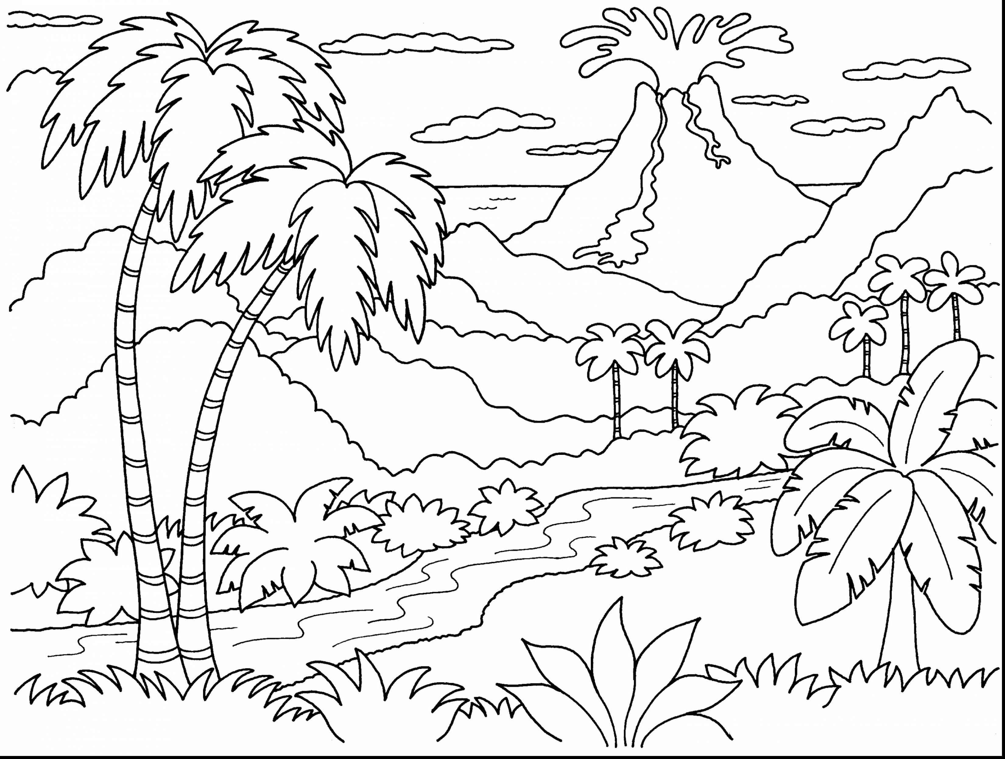 Remarkable Volcano Island Coloring Page With Volcano Coloring