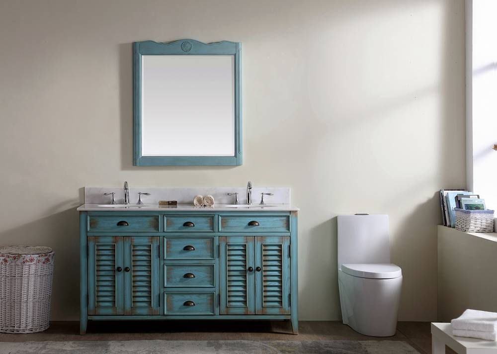 Small modern double wood vanity with make up area ...