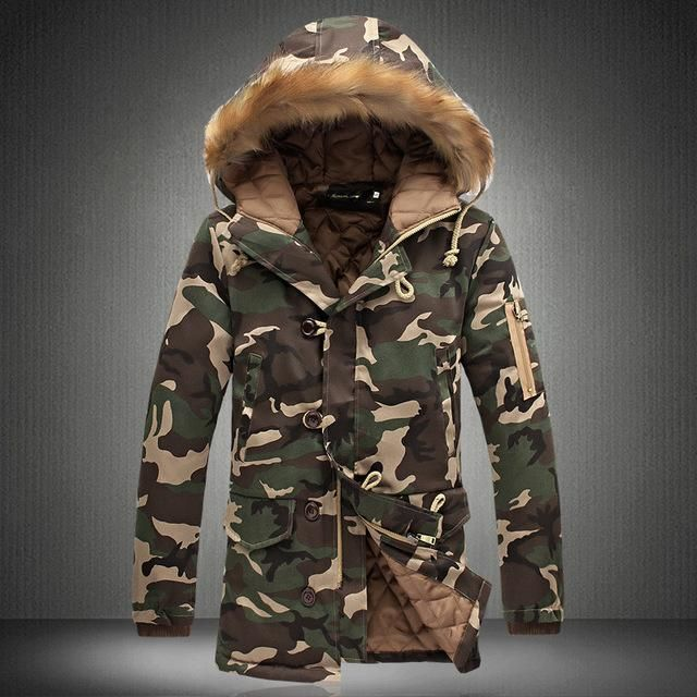 91cf9cdebf Men s Extended Warm Long Camo Coats Plus Size Faux Fur Hood ...