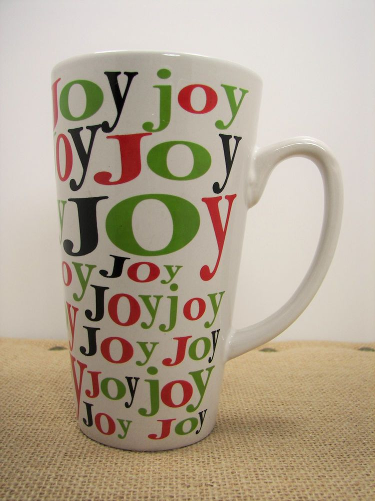 Old Time Pottery Christmas Red Green Black JOY Tall White Coffee Mug