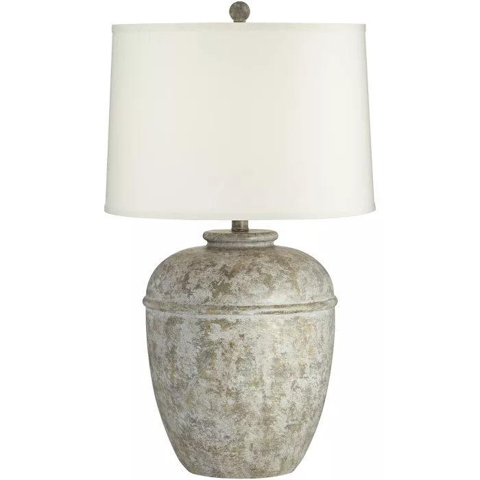 John Timberland Rustic Table Lamp Southwest Faux Mottled Stone Cream Linen Drum Shade Living Room Bedroom Bedside Office Family In 2021 Rustic Table Lamps Drum Shade Table Lamp