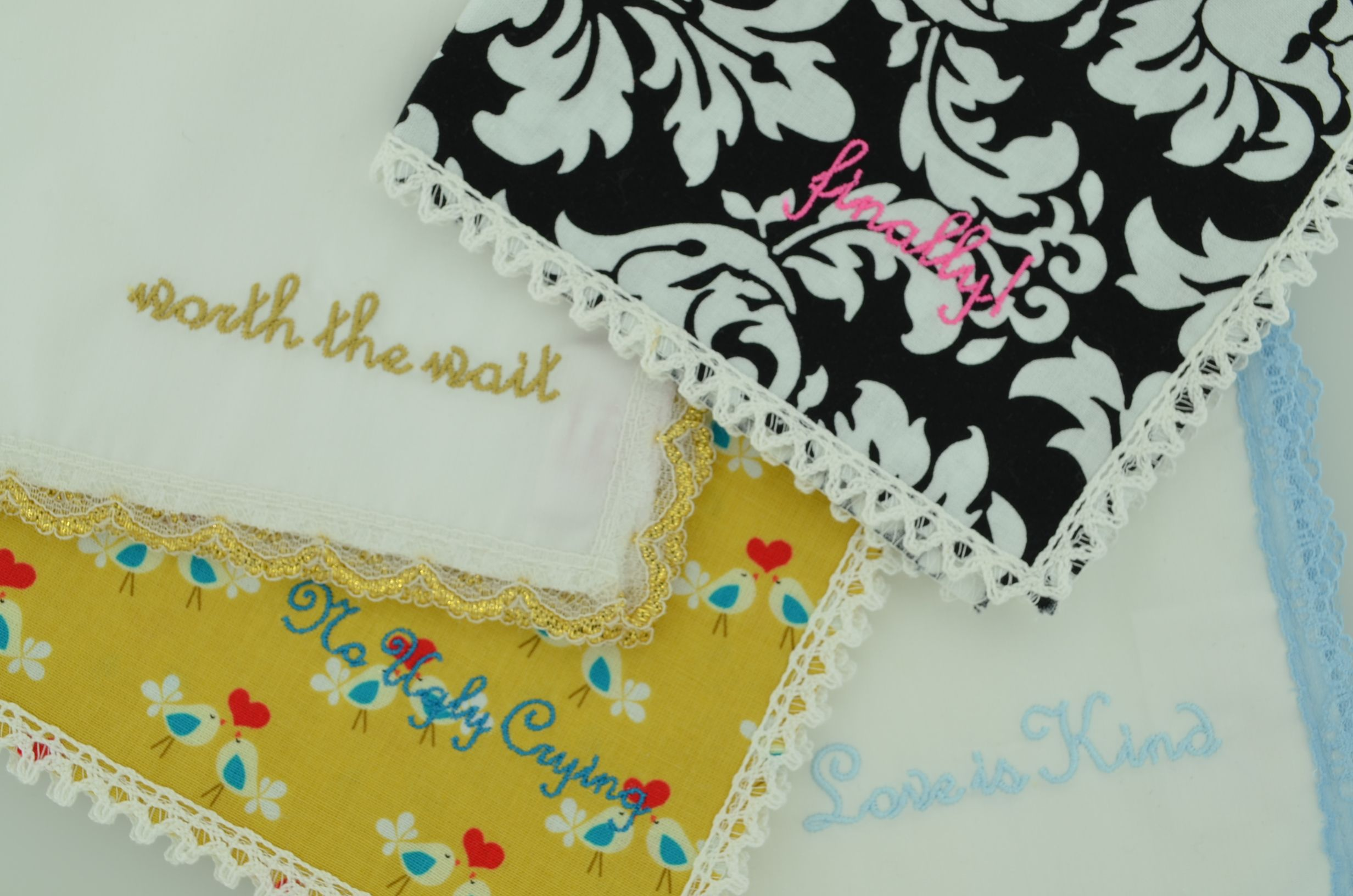 Personalized Embroidered Wedding Handkerchiefs by Happy Hanky. $12.50 + custom  embroidery www.thehandkerchiefshop.