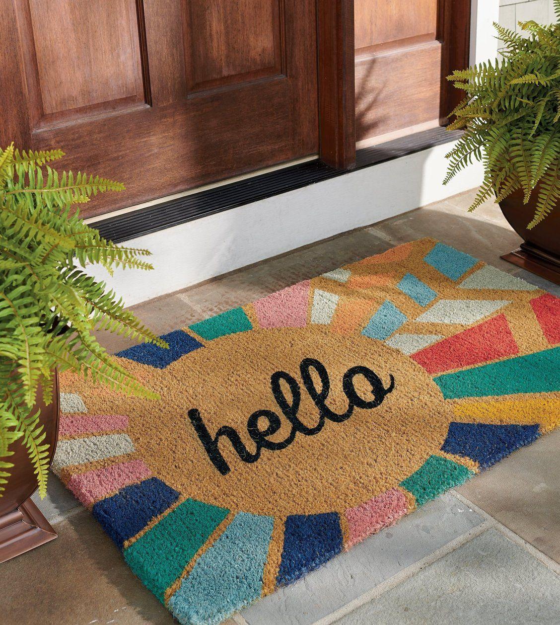 Hello Sunburst Coir Door Mat Grandin Road Door Mat Door Mat Diy Cute Door Mats