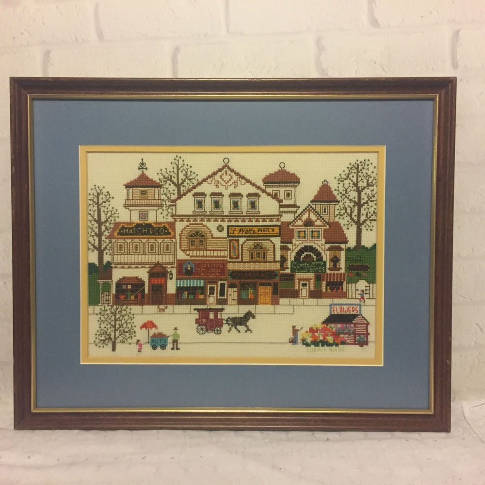 Vintage Charles Wysocki Victorian Shoppes Completed Cross Stitch ...