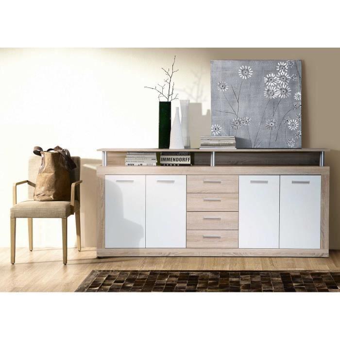 dcouvrez luoffre cava buffet bas dcor chne et blanc l cm pas cher sur cdiscount livraison rapide. Black Bedroom Furniture Sets. Home Design Ideas