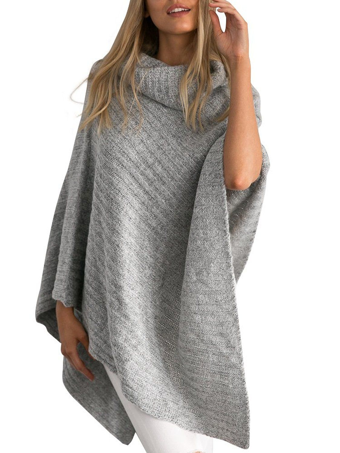 Simplee Apparel Women's Turtleneck Knitted Poncho Pullovers ...