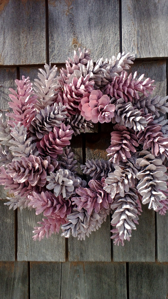 pinecone wreath, fresh wreath, pink wreath, valentines  This is the small version of my Pretty In Pink Wreath, which is my most noticed and treasured wreath. It is roughly 12 in diameter. Hand gather beautiful Maine pinecones, each one wrapped tightly to a sturdy wire frame. I do not hot glue the cones, so it will stay nice for years. Wonderful for Mothers Day, Easter, anytime really. Simple and stunning.  I can do just about any size, any color combination!! I love doing special orders. I…