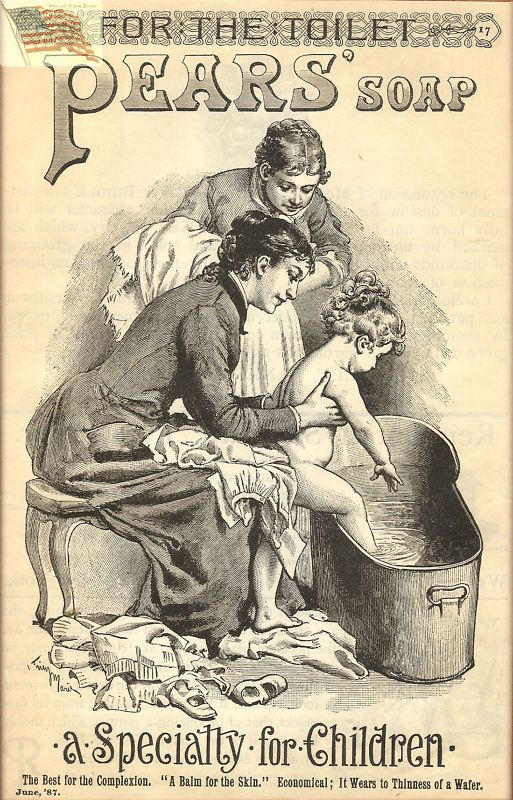 Pears Soap - Old Vintage Ad - Repro - Women Putting Child in Tub