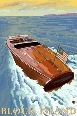 Chris Craft Boat - Rhode Island - Lantern Press Original Poster       #VisitRhodeIsland