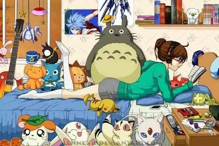 ✮ ANIME ART ✮ anime. . .otaku. . .nerd. . .reading. . .books. . .headphones. . .relaxing to music. . .anime merchandise. . .posters. . .toys. . .room decor. . .cute. . .kawaii