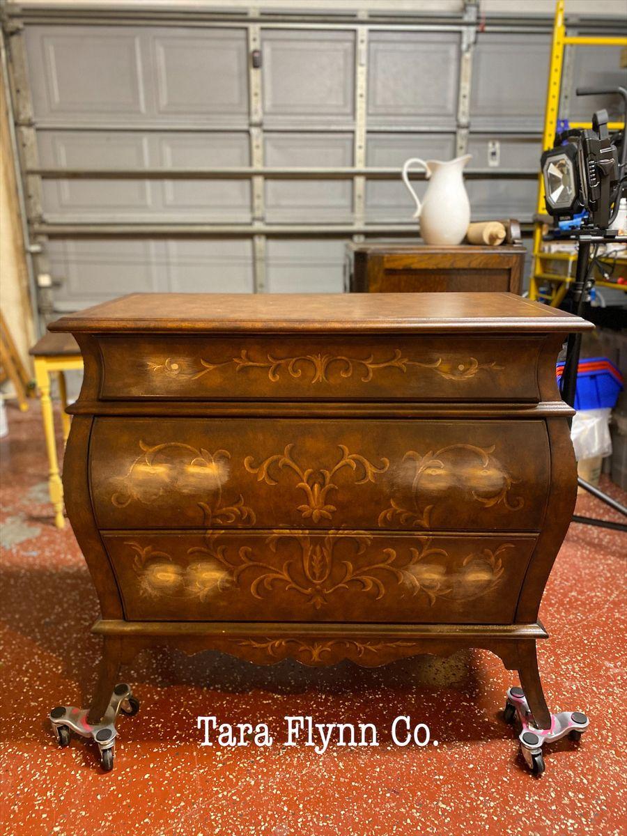 Prepping Furniture for New Hardware.  #oneofakind #furniturepainter #paintedfurniture #furnitureartist #taraflynnco #taraflynn #restyled #redesigned #homedecor #vintagefurniture #furnituremakeover