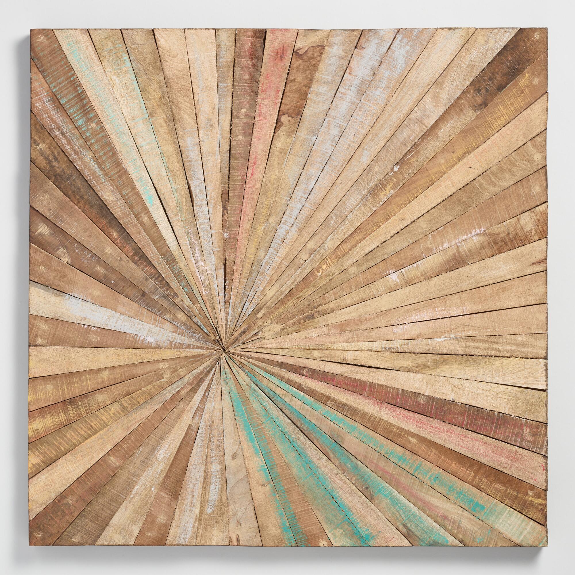 Antiqued Sunburst Wood Panel Wall Decor Wood Panel Wall Decor