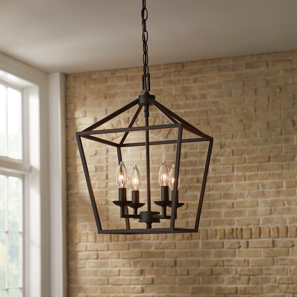 Home Decorators Collection Weyburn 4 Light Bronze Caged Chandelier 46201 The Home Depot Farmhouse Light Fixtures Cage Chandelier Modern Farmhouse Lighting