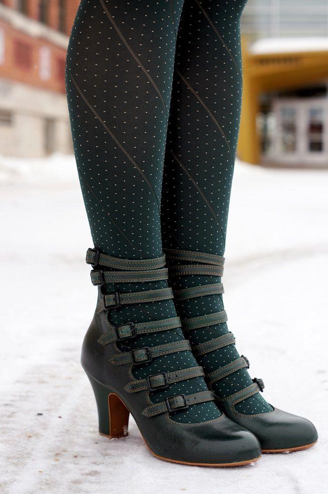 Winnipeg Style fashion, Miss L Fire green Elizabeth vintage inspired buckle boot... 1