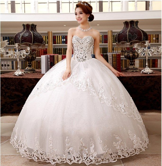 Find More Wedding Dresses Information about 2015 new hot sale  luxury sexy backless elegant  beach vintage waist Bra lace plus size white beading wedding dress strapless,High Quality dress up women and girls,China dresses missoni Suppliers, Cheap lace sleeve wedding dress from Playful beauty department store on Aliexpress.com