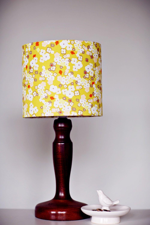 Mustard Lamp Shade Floral Lampshade Yellow Lampshade Lampshade